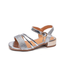 AFDSWG girl shoes high heel summer new children's wild rhine