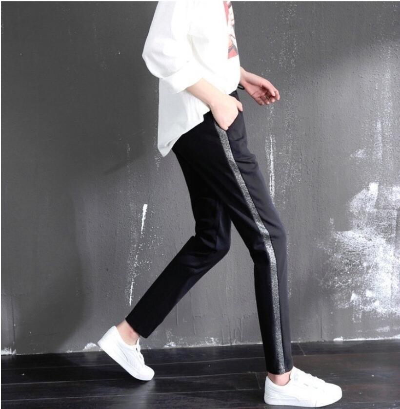 LJ352  2019 New  Womens Spring Mid Waist Harem Pants Stripes Printed Long Jogger Trousers Slim Drawstring Elastic Pockets