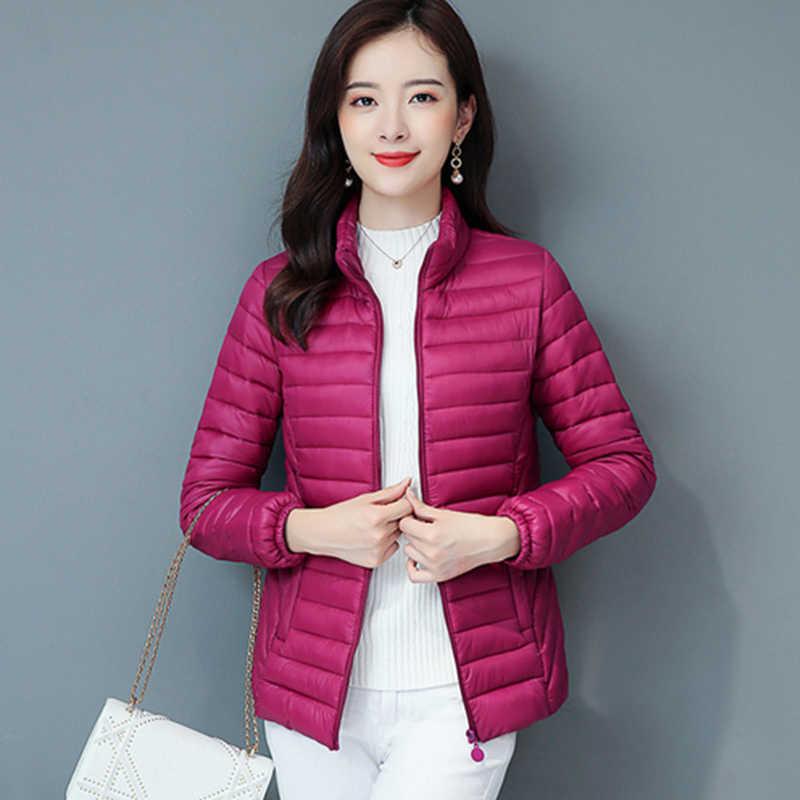 Elegan Slim Down Mantel Wanita Musim Dingin Ukuran Besar Kasual Tipis Pendek Korea Down Jaket Kantor Wanita Kapas Empuk Hangat Jaket lebih Tahan Dr