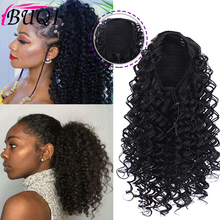 цена на BUQI Drawstring Afro Curly Ponytail Synthetic Hair Bun Chignon Hairpiece For Women Clip in Hair Extension
