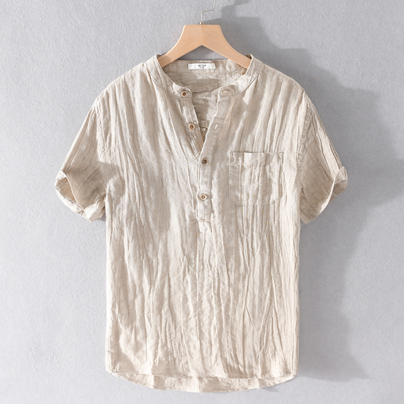 2020 Summer Pure Linen Shirts Men Brand Short Sleve Shirt For Men Casual Stand Collar Shirt Mens Fashion Solid Shirts Male
