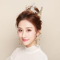 Classic Gold Color Princess Tiara Round Crown Headdress Bridal Wedding Headpiece Hair Jewelry Rhinestone Headband Gift Handmade