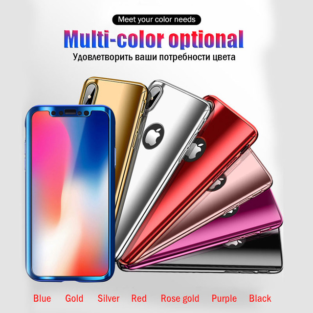 Plating 360 Full Cover For Apple iphone 7 iphone X Xr Xs Max Mirror Phone Case For iphone 7 8 6 6S Plus Glitter Capa With Glass
