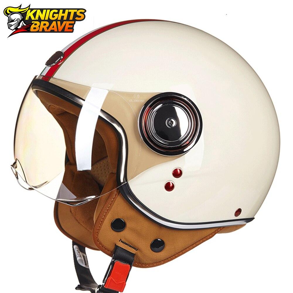 Motorcycle Helmet 3/4 Open Face Vintage Casco Moto Men Retro Moto Helmet Summer Scooter Motorbike Riding Helmet Casque Moto 110B