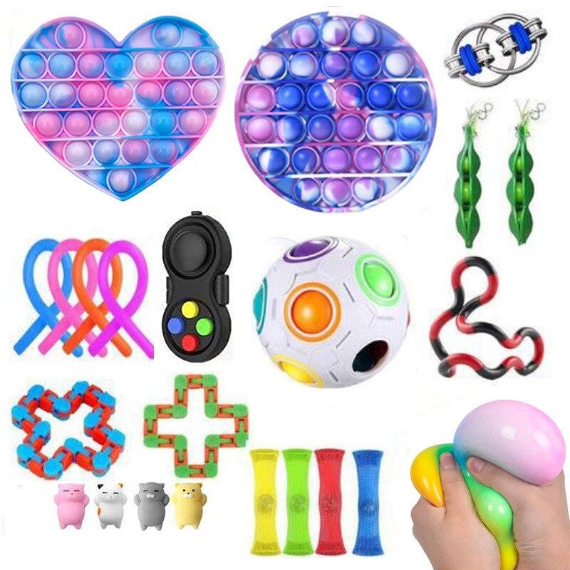 Fidget-Toys Gift-Pack Anti-Stress-Set Pop-It Stretchy-Strings Sensory Squishy Children img2