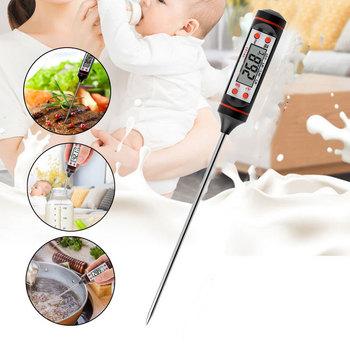 Cyfrowy termometr do mięsa gotowanie żywności do kuchni na grilla sonda woda mleko olej płynny piekarnik cyfrowy czujnik temperatury termopara tanie i dobre opinie CN (pochodzenie)