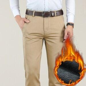 Image 3 - Большие размеры 40, 42, 44, зимние мужские теплые повседневные штаны, высокое качество, хаки, 97.5% хлопок, обычные Стрейчевые плотные брюки, мужские брендовые