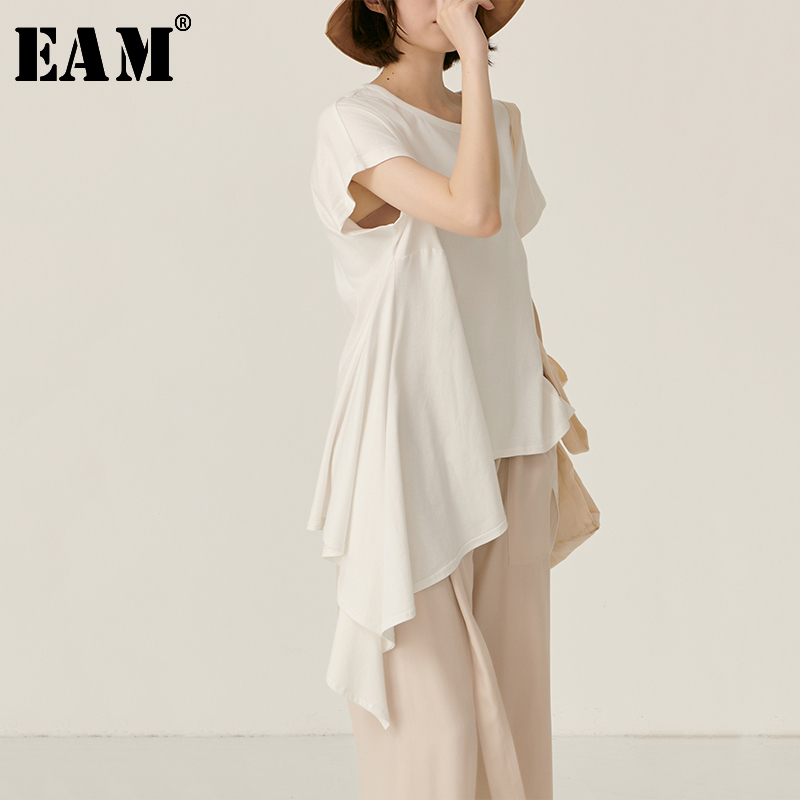 [EAM] Women White Asymmetrical Hem Split Temperament  T-shirt New Round Neck Long Sleeve  Fashion Tide  Spring Summer 2020 JY443