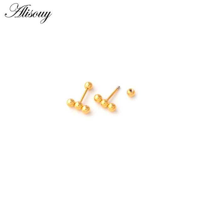 Alisouy 2pc Fashion Simple Multi Small Balls T bar Stud Earrings for Women Punk Stainless Steel.jpg 640x640 - Alisouy 2pc Fashion Simple Multi Small Balls T bar Stud Earrings for Women Punk Stainless Steel Black/Gold/Silver color Ear Stud