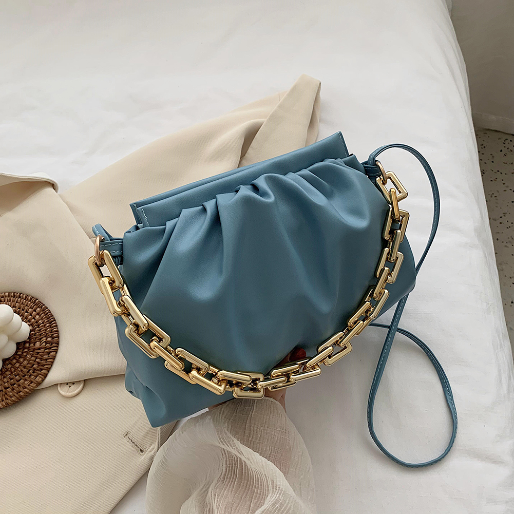 Женская плиссированная сумка мессенджер из искусственной кожи, модная сумка через плечо с облаком, популярная простая Женская Повседневная сумка с толстой цепочкой|Сумки с ручками|   | АлиЭкспресс - Аналоги сумок с показов мод осень-зима 2020/21
