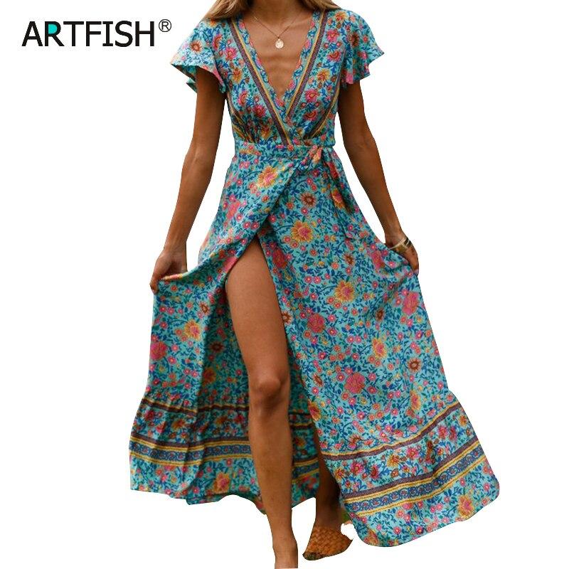 2019 Summer Dress Indie Folk Women Sexy Printed Bow Holiday Beach Wrap Dresses V-Neck Boho Dress Elegant Party Sundress M0511
