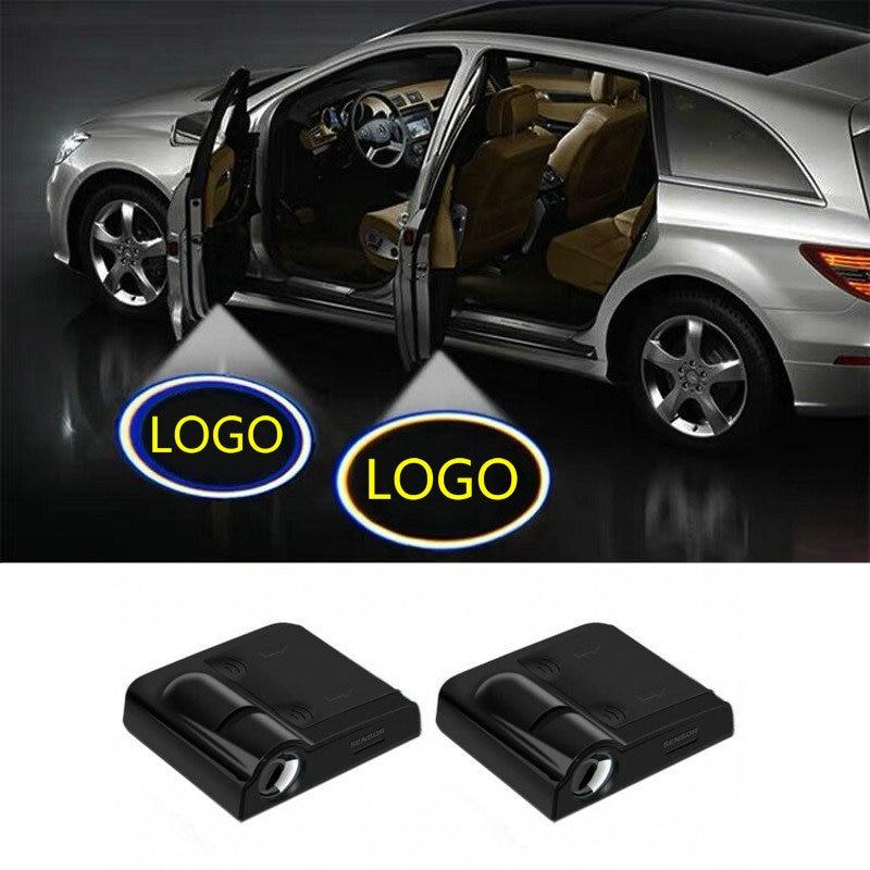 2X LED Car Door Welcome Light Projector Logo For Hyundai Ix35 I30 I20 I40 Tucson Mistra Sonata Elantr Kona Hybrid Ioniq Santa