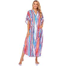 Sukienka Bikini Multicolor Kaftan Sarong plażowy przód otwarta plaża sukienka Plage tunika Kimono Pareos de playa Mujer kostiumy kąpielowe tanie tanio sunforyou CN (pochodzenie) Lato Poliester W każdym wieku 35-45 lat Młody styl Czeski W paski