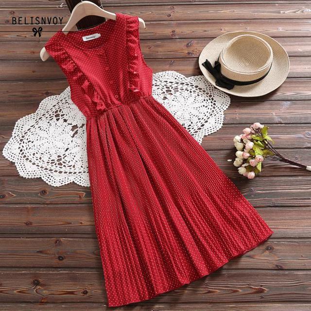 Mori Girl Summer Women Sundress Red White Polka Dot Sleeveless Ruffles Dress Vintage Elegant Chiffon Sweet Lady Pleated Dresses