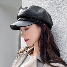 New Unisex military hats  PU flat cap ladies British painter hat men handsome retro navy cap sailor cap  fashion hat