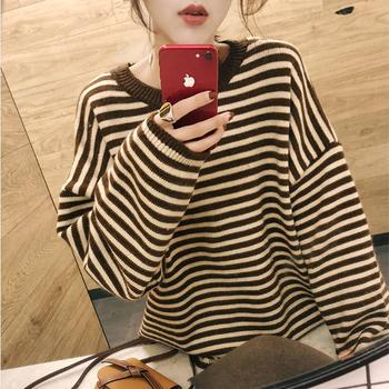 College Style Autumn and winter New striped sweater female student Korean sweet loose pullover long sleeve round neck sweater seggnice striped loose ladies long sleeve sweater pullover 2020 autumn winter new arrival round neck knit sweaters for women