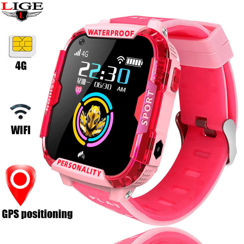 LIGE GPS Children's Smart Watch Positioning Tracker wifi Connection Video call SOS one Button For Help 4G SIM card Kids Watch