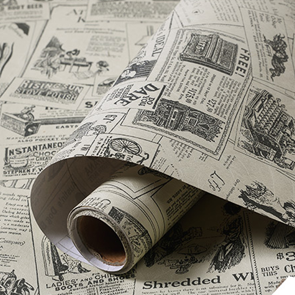 Retro Newspaper WallPaper Vintage Pvc Self Adhesive Home Renovation Wall Sticker Cabinet Table image