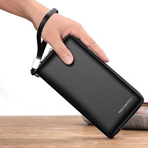 Image 4 - ويليابولو رجالي محفظة جلدية حقيقية حقيبة المال تتفاعل بطاقة حزمة مخلب غطاء جواز سفر محفظة طويلة عملة محافظ تصميم الأزياء