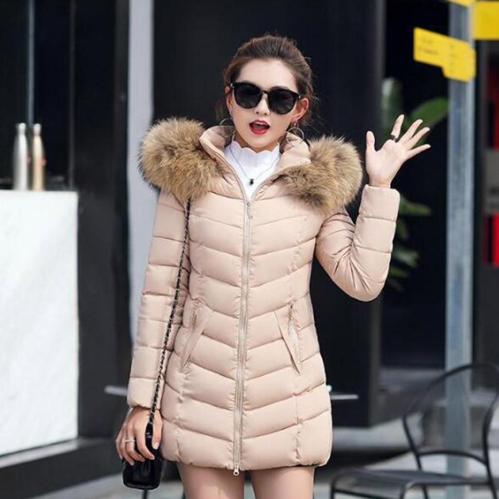 Winter Women Down Cotton Parka Long Fur Collar Hooded Coat Jacket M-6XL