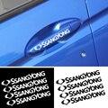 4 шт. стильные черно-белые наклейки на дверные ручки автомобиля Для SsangYong Actyon туризма Ssang Yong Rodius Rexton, Korando Kyron