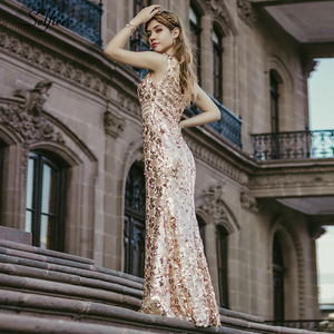 Image 3 - Блестящие женские платья с блестками, длинные летние платья русалка без рукавов с v образным вырезом, элегантные вечерние платья 2020