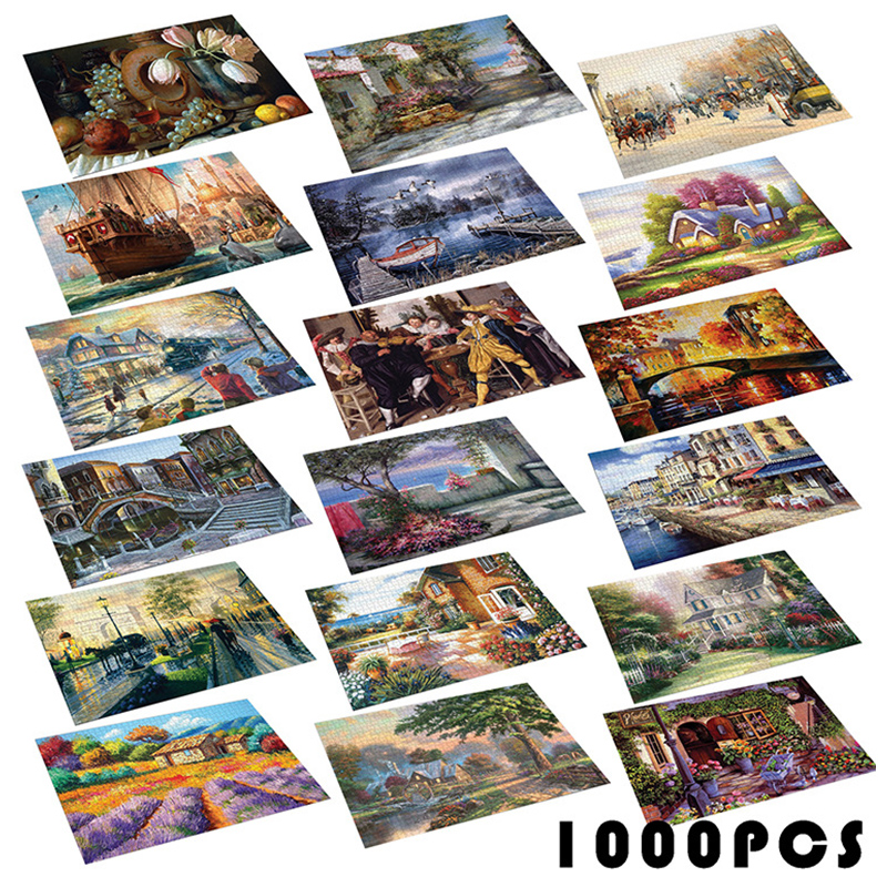 New Jigsaw 1000 Pieces Puzzles Paper Assembling Picture Landscape Puzzles Toys For Adults Children Kids Games Educational Toys