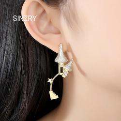SINZRY new creative elegant earrings cubic zirconia shinning plant dangle earrings female popular lady jewelry