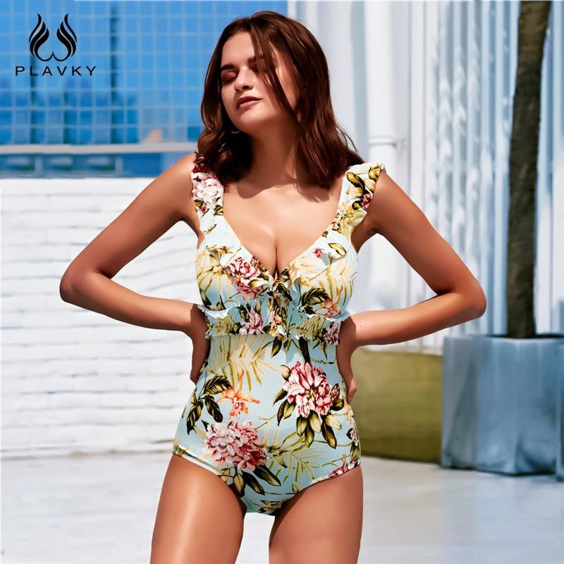 Sexy 2020 Lady Retro Floral Crinkle V Neck Ruffle Swimwear Women One piece Swimsuit Smock High Waist Bath Suit Monokini Trikini