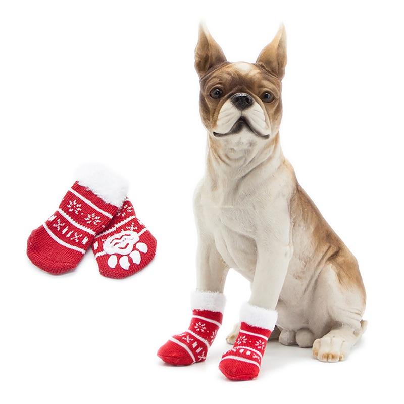 4Pcs Christmas font b Pet b font Dog Socks Shoes NEW YEAR Christmas snowflake shape Non