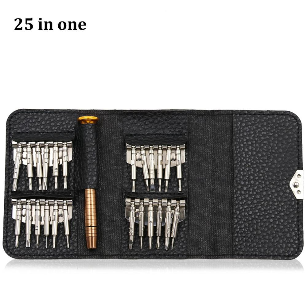 25Pcs Multi-Function Leather Case Manual Screwdriver Bit Combination Set Mobile Phone Notebook Disassemble Repair Tool