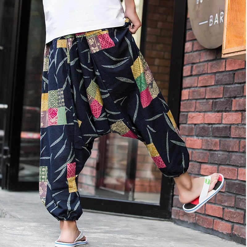 ผู้ชายดอกไม้พิมพ์ Hippy Baggy Boho Elastic Cross-กางเกงหลวมกางเกง Aladdin ขากว้างผ้าฝ้ายผ้าลินิน Harem กางเกง