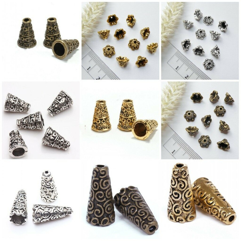 40/50Pcs Antique Silver Gold Bronze Bugle Cone Flower Bead Caps For Jewelry Making Diy End Beads Bracelet Necklace Accessories