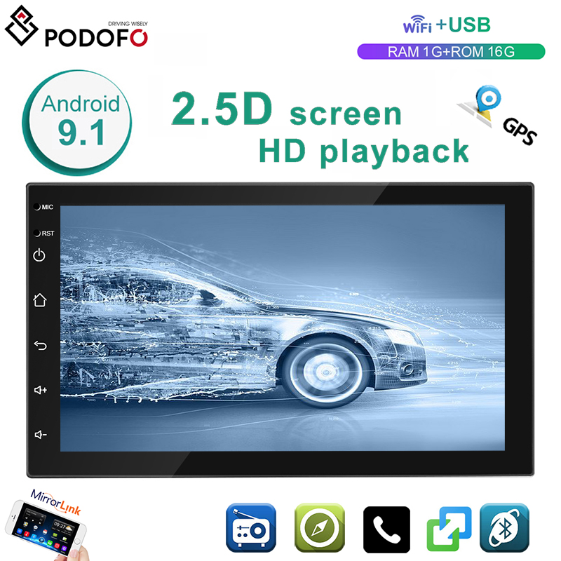 Potofo Android 9.1 2 Din GPS Car Stereo Radio 7'' TFT Capacitive Touch  Screen 1G+16G Car MP5 Player  With  WIFI GPS FM Features
