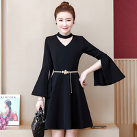 New Design Large Size Ladies' Horn Sleeve Korean Fashion Belt Waist Dress Black Style Vestido Party Vogue Lady Dresses Mini L 5X