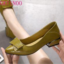 Gktinoo sapatos femininos de salto grosso, couro legítimo, bico fino, colorido, salto quadrado, para festa, sapatos feitos à mão, femininos
