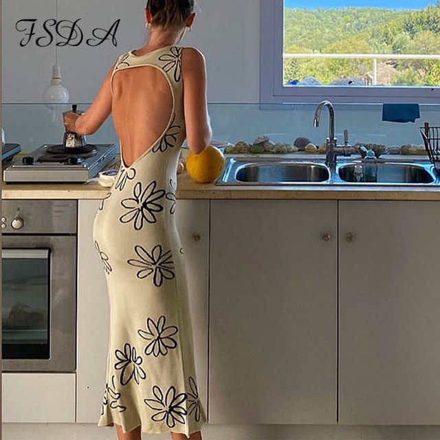 FSDA 2021 O Neck Knitted Bodycon Dress Women Summer Split Backless Sleeveless Y2K Beach Sexy Midi Party Dresses 5