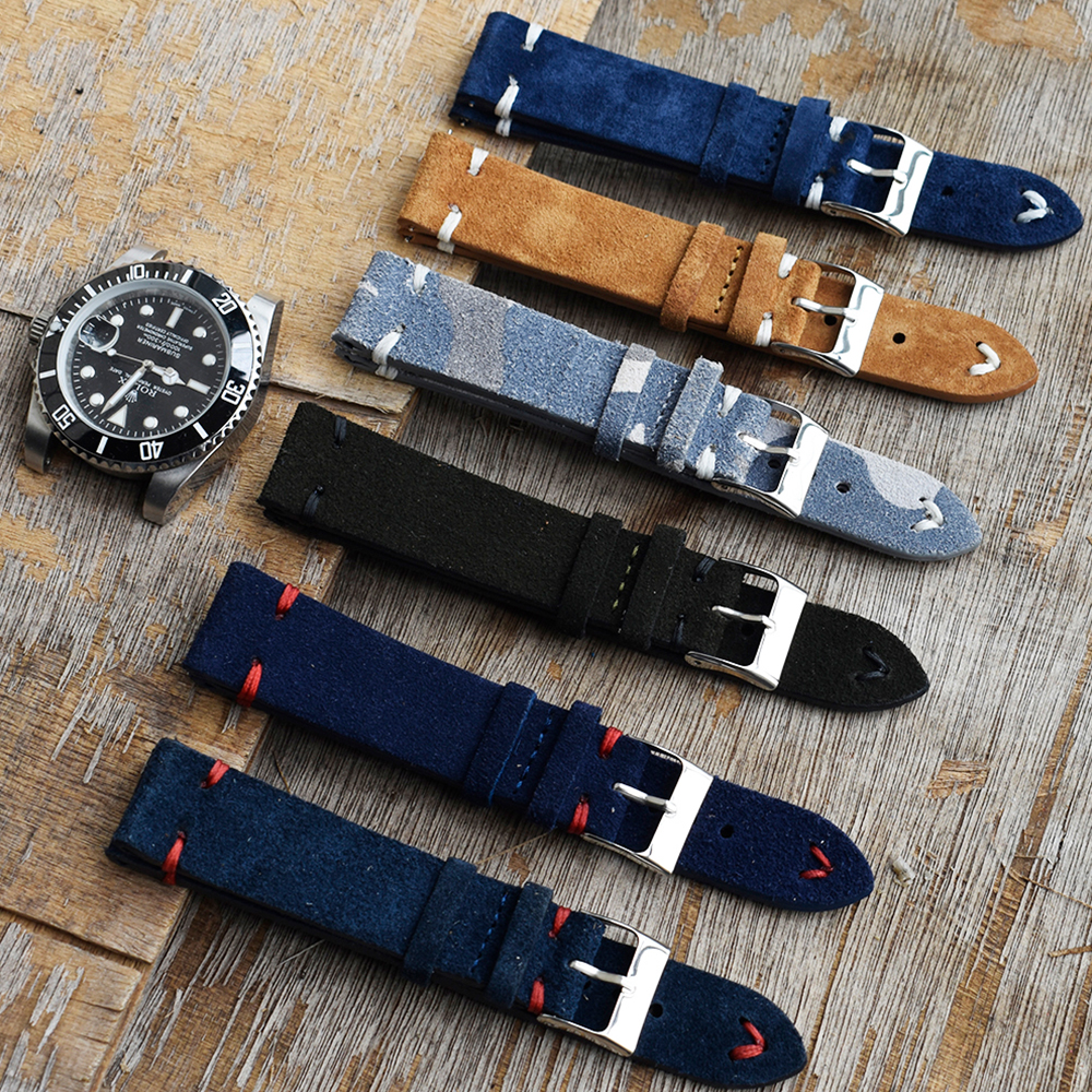 Men Watch Band Genuine Suede Leather Vintage Strap 18mm 20mm 22mm 24mm Watch Accessories High Quality Royal Blue Watchband Strap