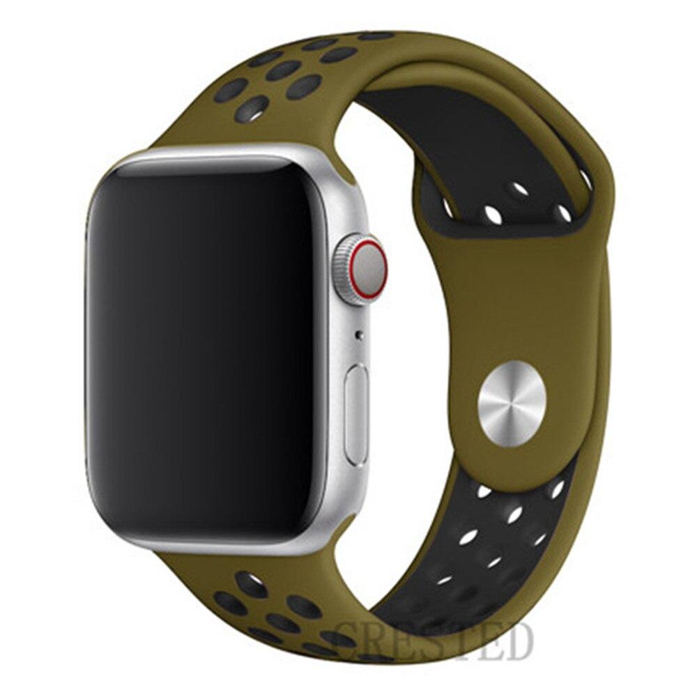 Спортивный ремешок для apple watch band 44 мм/40 мм apple watch 5 4 3 band iwatch band 5 42 мм/38 мм correa браслет ремень аксессуары для часов - Цвет ремешка: Olive Flak 31