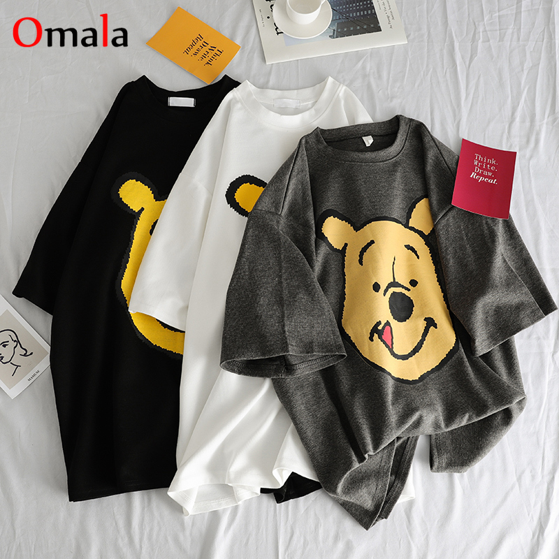 Summer 2020 Casual Women T-shirts Ulzzang Streetwear Kawaii Cartoon Print Tshirt Korean Style Tops Harajuku Short Sleeve T Shirt