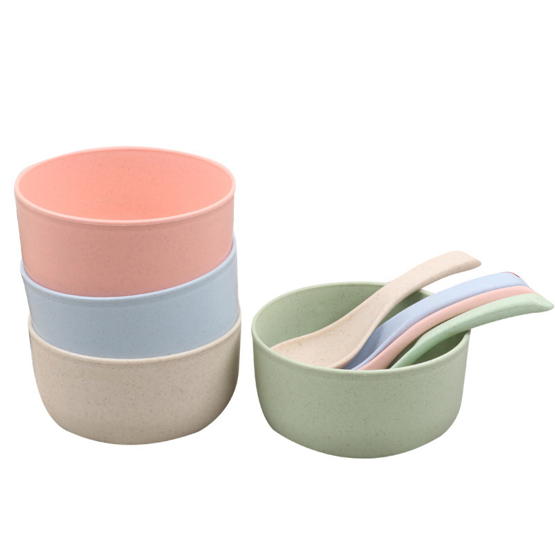 Baby Feeding Tableware Set Eco-friendly Toddler Bowl Infant Plate Dishes With Spoon Solid Color Wheat Straw Dinnerware MBG0467