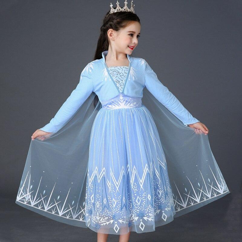 New Cosplay Snow Queen 2 Elsa Dresses Elsa Girls Costumes Anna Princess Party Vestidos Fantasia Kids Girls Clothing