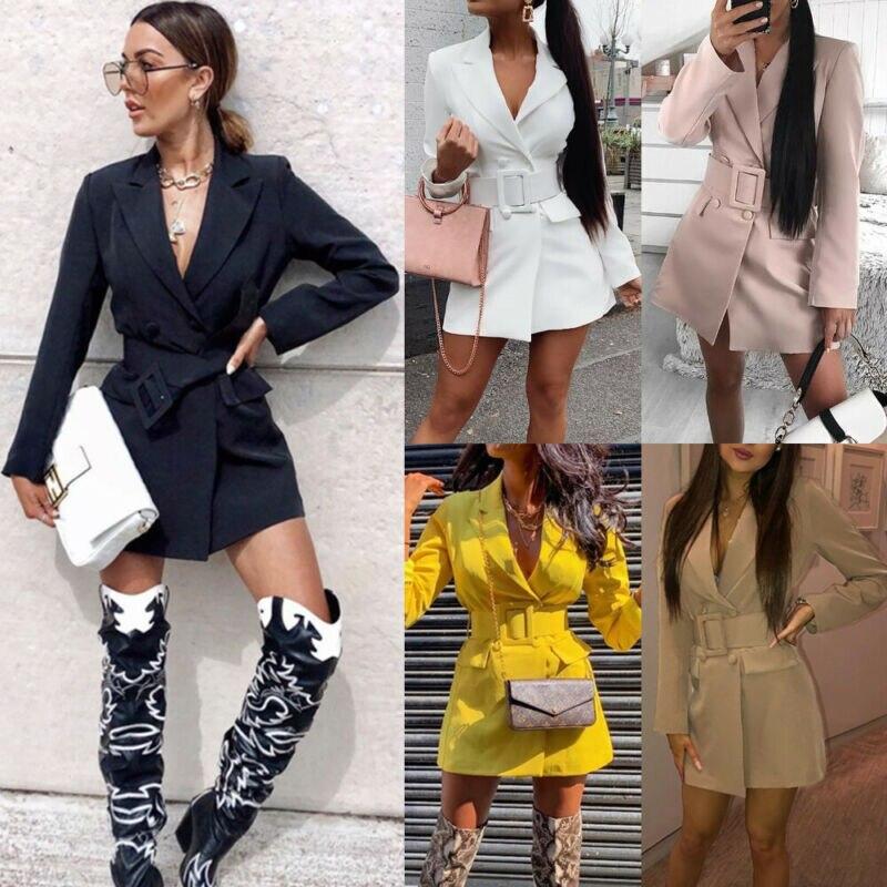 New Women Blazer Oversize Bodycon Lapel Blazer Double Breasted Belt Long Sleeve V-neck Dress Autumn Clothes 5Colors UK Size 6-14