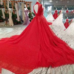 Image 3 - LSS106 אדום ציצית מסיבת חתונה כלה גבוהה צוואר חרוזים שרוולים גב פתוח אונליין שמלה לנשף משלוח חינם חדש הגעה