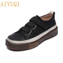 AIYUQI Women's Vulcanized Shoes Flat New Genuine Leather Women's sneakers Retro Large Size 42 43 Fashion Girl Student Shoes