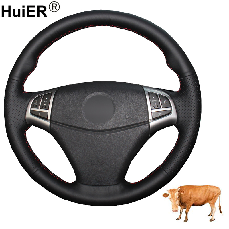 HuiER Hand Sewing Car Steering Wheel Cover Volant Funda Volante Top Layer Cow Leather For Ssangyong Korando 2011 2012 2013 2014 image