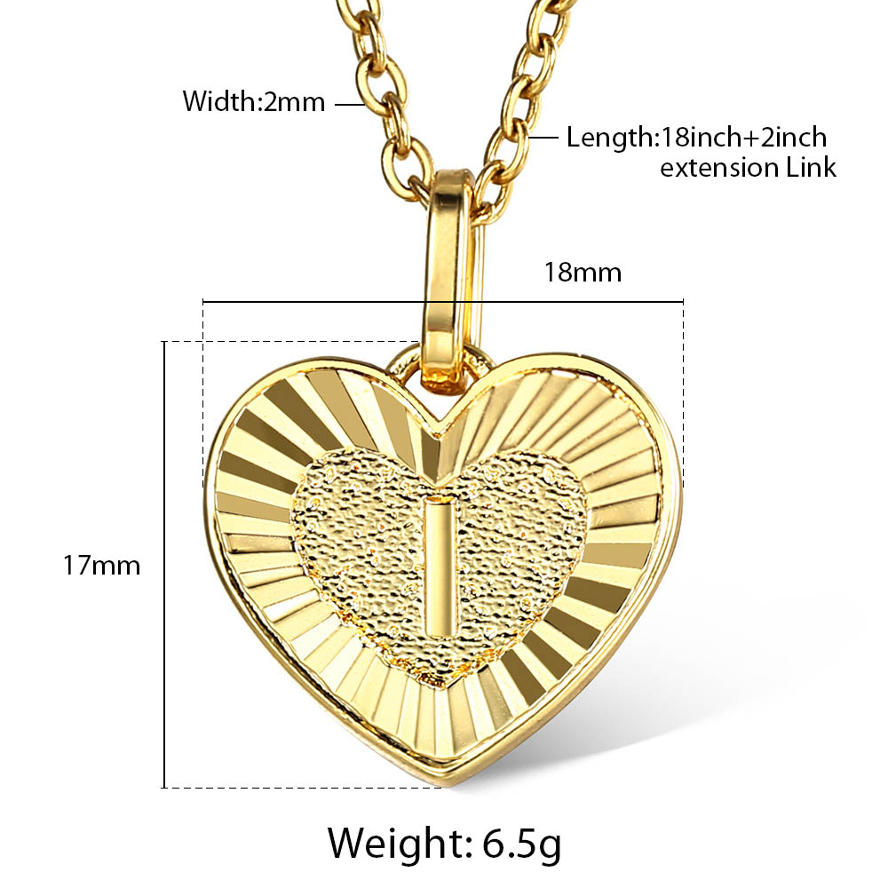 Gold Plated Heart Shaped Love Initial A Z Letter Pendant Charm for Women Girl Fashion Gifts
