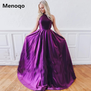 2020 New Arrival Purple Evening Dresses Long Satin Floor Length Sweep Train Sleeveless A-Line Prom Party Dresses Custom Made
