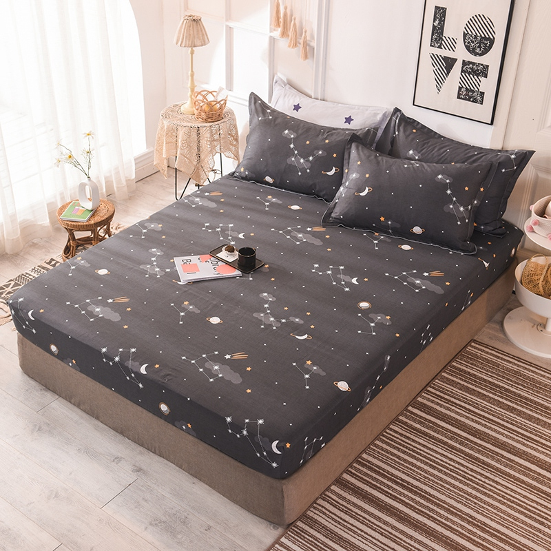 (New On Product) 1pcs 100% Cotton Printing bed mattress set with four corners and elastic band sheets(pillowcases need order) 2