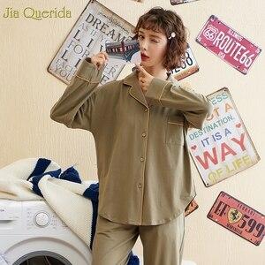 Image 5 - Minimalistischen Stil Pyjamas Frauen 2020new Frühling Herbst Baumwolle frauen Zwei Stück Plus Größe Lose Koreanischen Stil Zu Hause Kleidung Baumwolle pjs